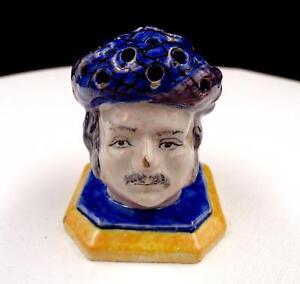 FRENCH-MAJOLICA-SCOTTISH-MAN-BLUE-amp-YELLOW-2-1-2-034-MATCH-HAT-PIN-HOLDER-1800-039-s