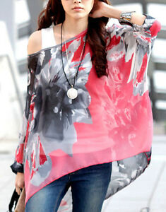 UK-Women-Lagenlook-Kimono-Top-Chiffon-Blossom-Print-Poncho-Oversize-Tunic-Blouse