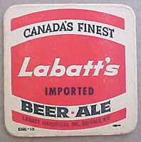 LABATT'S IMPORTED ALE BEER old COASTER, Mat, CANADA. Imported Buffalo, NY