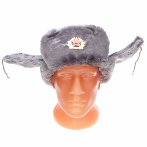 NEW Authentic Russian Military Gray Ushanka Hat Soviet Red Star Hammer /& Sickle
