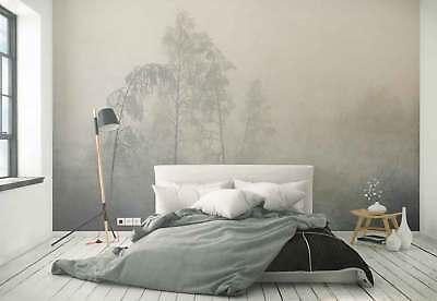 Poster Steg am stillen See bei Nebel Mogengrauen Panorama 158 x 53 cm