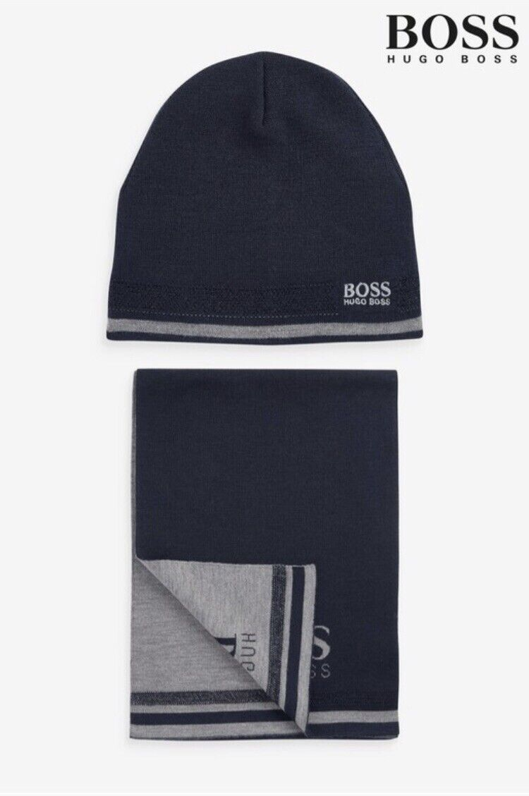 Authentic BOSS Blue Ainy Logo Hat & Scarf Gift Set. BN