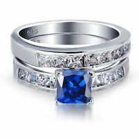 Blue Sapphire Princess Cut Engagement Wedding Genuine Sterling Silver Ring Set