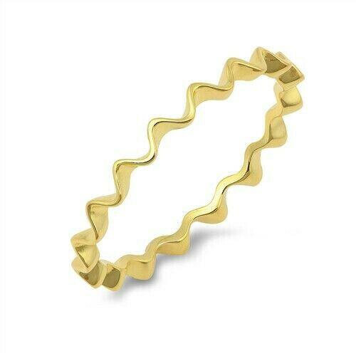 Squiggle Design Anneau Véritable Argent Sterling 925 jaune plaqué or hauteur 2 mm