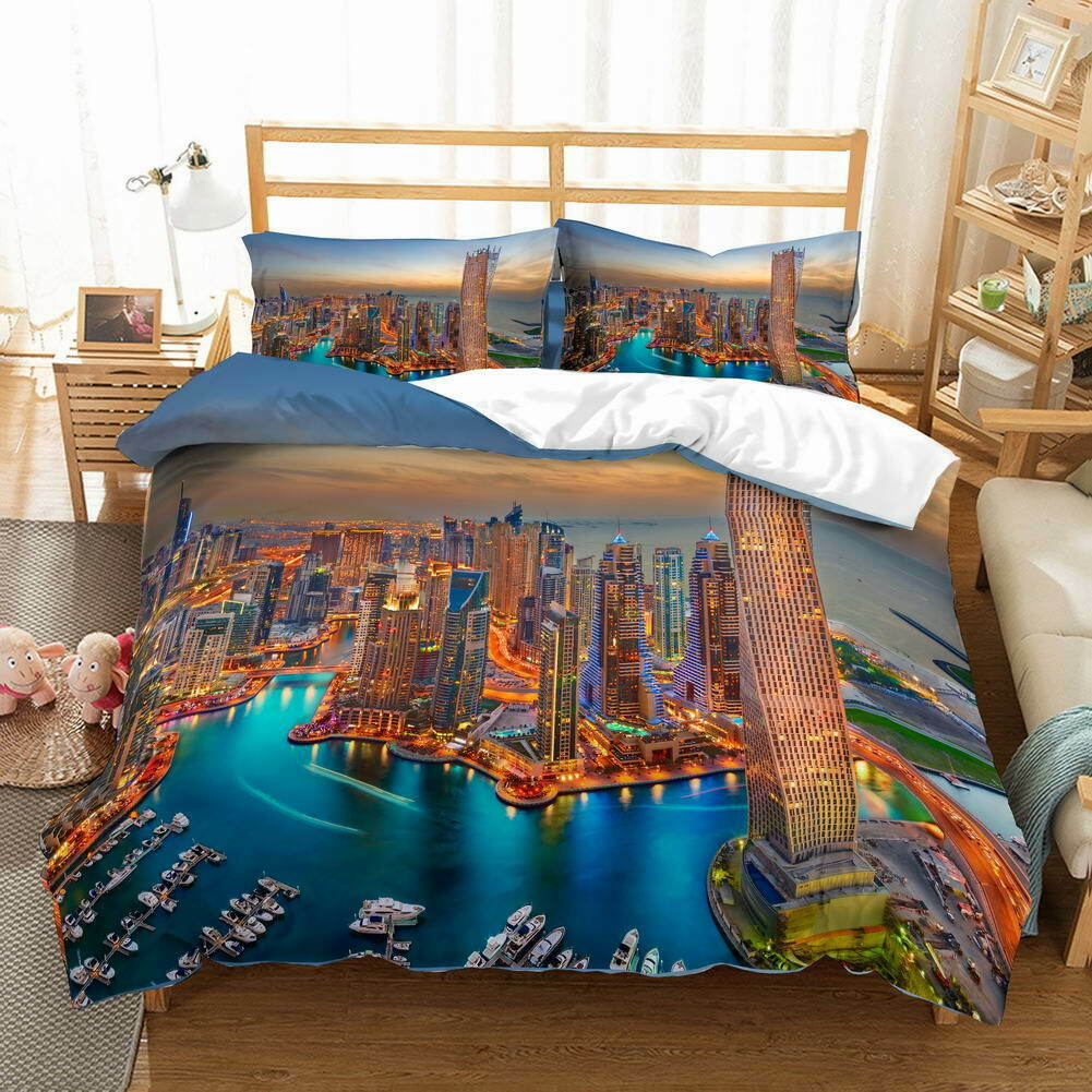 Blau Lake Build 3D Quilt Duvet Doona Cover Set Single Double Queen King Print