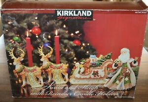 Kirkland Santa Claus & Sleigh with Reindeer Candle Holders ...