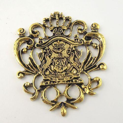 8pcs Vintage Gold Tone Alliage badge Charms Pendants 50*43*3mm 30080