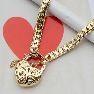 """9K Yellow Gold Filled Solid Euro Bracelet With Heart Locket """"Stamp 9K """""""