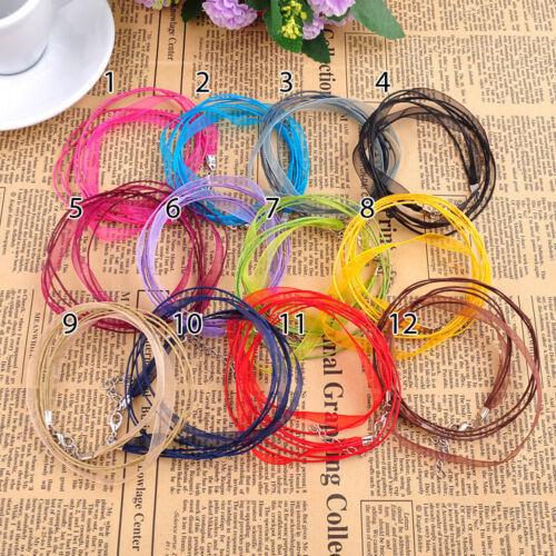 """New Silk Organza Ruban Collier Bracelet Cire Cordon 18/"""" Chaîne Homard Fermoir 10pcs"""