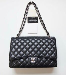 Details About Chanel Bag Jumbo Classic 34 Chain Shoulder Black Caviar Skin Used 100 Authentic
