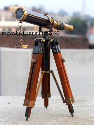 Vintage Design Antique Brass Spyglass Telescope With Wooden Tripod Marine Scope