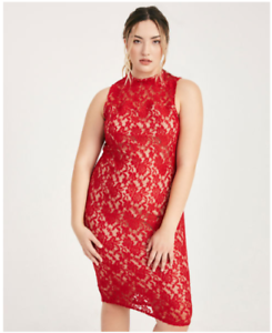 Details about Wet Seal Plus Size Sheer Floral Lace Midi Dress RED Size 1X  NWT