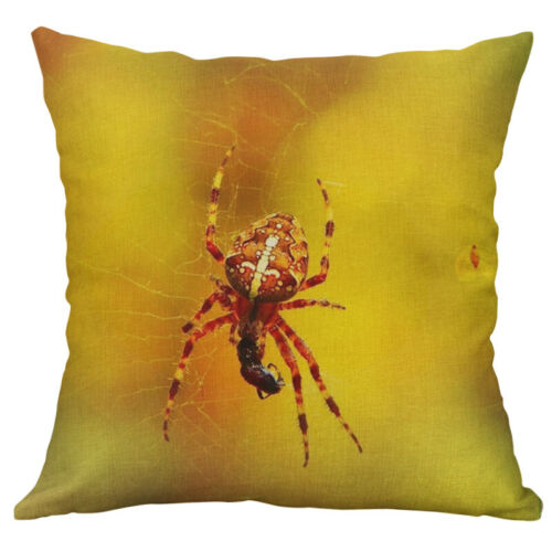 """18/"""" Cotton Linen Printing insect spider Pillow Case Cushion Home Décor Cover"""