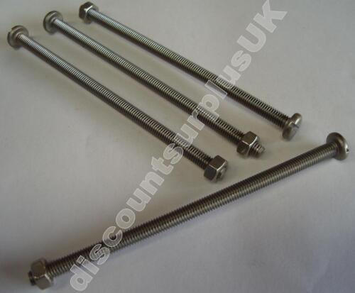 NUT *4 Pack* pan A4 MARINE GRADE STAINLESS STEEL 125mm M6 Slot Machine Screw
