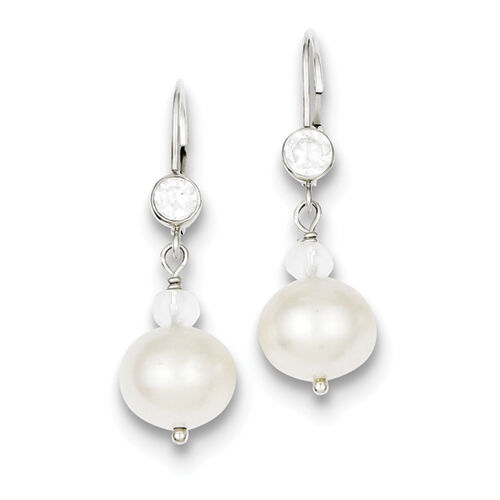 925 Sterling Silver Dangle CZ Fwc Pearl//CZ W//Crystal Leverback Earrings