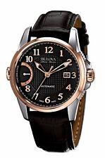 Bulova Accu Swiss Men's 65B154 Rose Gold Case Black Leather Strap 43mm Watch