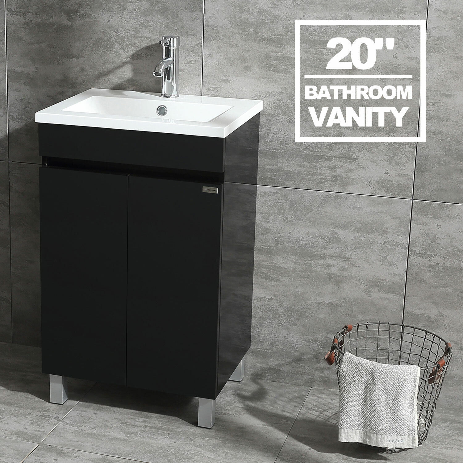 20 Bathroom Vanity Cabinet Wood Set W Undermount Resin Vessel