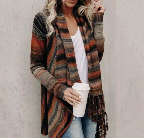 US Women Irregular Tassel Cardigan Tops Sweater Kimono Shawl Coat Jacket Outwear