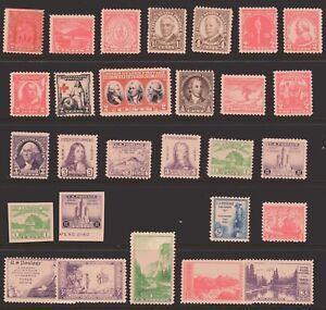 ESTADOS-UNIDOS-Sellos-680-742-28-Comemorativos-1930s-Nuevo