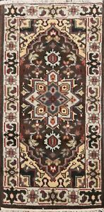 Geometric-BROWN-IVORY-Heriz-Oriental-Area-Rug-Wool-Hand-Knotted-2x4-ft-Carpet