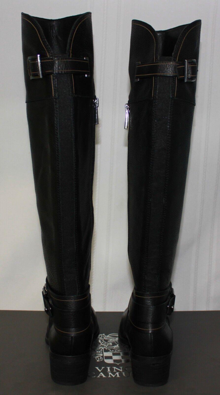 Vince Camuto Basira Cuero Alto botas De Cuero Basira Negro Nuevo Con Caja c54610