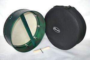 "B-STOCK Bodhran Irish Drum 18"" Adjustable 6"" deep rim Green with Gig Bag"