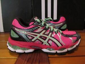 Womens Asics Gel Nimbus 16  140 HOT PINK Green 5 T485N 3570 Running ... 65d0530c1