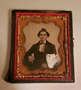 Antique-Victorian-ambrotype-Painted-Young-Man-Photograph