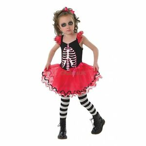 c31ebd411bc Details about Skull Tutu Costume Girls Skeleton Halloween Day Of The Dead  Fancy Dress 9-10 Yrs