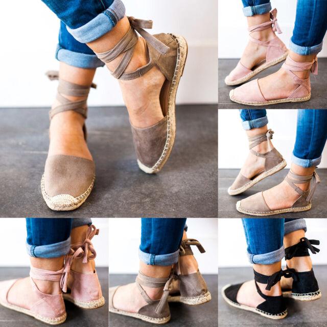 Womens Fashion Flat Wedge Heel Sandals Espadrilles Summer Beach Pumps Shoes Size