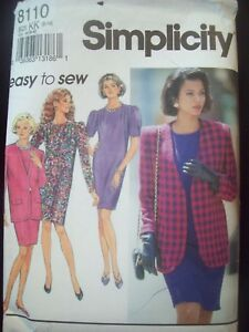Simplicity Pattern 8110 Easy Sew Slim Dress and Lined Jacket Cut