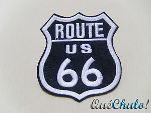 PARCHE-TEXTIL-BORDADO-MOTERO-EMBROIDERY-PATCH-BIKER-ROUTE-66-8-5-x-7-5-CM