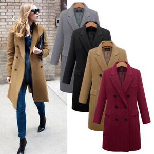 Damen Warm Wolle Mantel Lang Trenchcoat Parka Wintermantel Revers