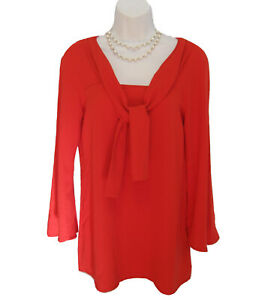 ANNE-FONTAINE-Tie-Neck-Top-Size-38-4-6-Career-Shirt-Red-Knit-Tunic-Work-Satine