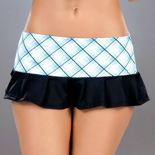 New 3005 Blue Plaid Mini Boy shorts Yoga Gym Booty Scrunched panties Rave S M L