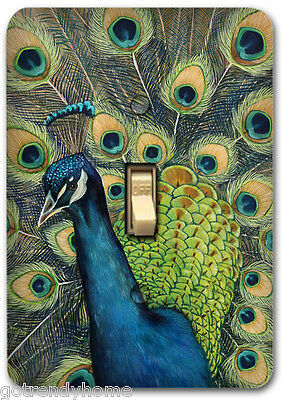 Pretty Peacock Feather Decorative Decoupage Light Switch Covers