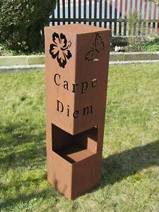 Saeule-Rost-Carpe-Diem-Edelrost-Rost-Deko-Garten-Deko-Schmetterling-Stele-rostig