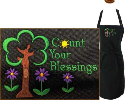 Count Your Blessings Flower Gardener Monogram Apron Black Adj Adult Large Gift