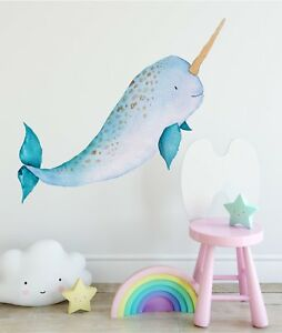 Details About Baby Narwhal Wall Decal Removable Watercolor Sticker Sea Ocean Nursery Decor