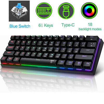 Details about  61 Keys Mechanical Gaming Keyboard 18 RGB LED Backlit Wired Blue switch For PC