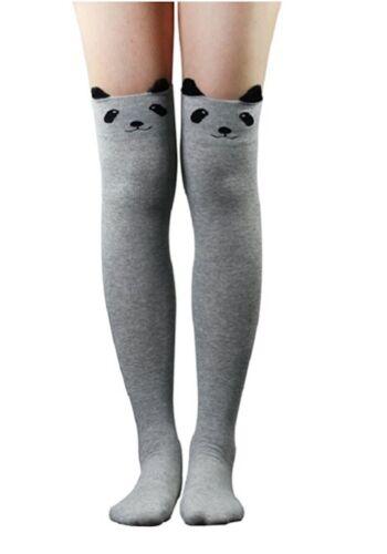 Womens Girls Cat Bear Cartoon Long Socks Knee High Stockings Black Blue Grey