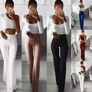 Women-039-s-Palazzo-Flared-Wide-Leg-Pants-High-Waist-OL-Ladies-Career-Long-Trousers