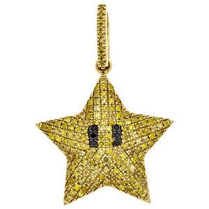 10K-Yellow-Gold-Yellow-Diamond-Puff-Dome-Mini-Star-Pendant-1-034-Charm-0-41-CT