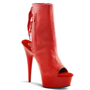 0fb261e546de Pleaser DELIGHT-1018 Women s Red Faux Leather Platform Open Toe Mid ...