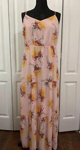 Women J.CREW Mercantile Maxi Dress sz 12T Pink Floral Sundress