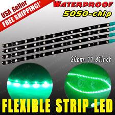 4x 12V 30CM 12-LED vivid Green Car Motor Flexible Waterproof Strip LED Lights