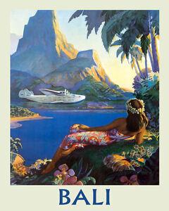 Bali Indonesian Island Airplane Ocean Sea Travel Vintage Poster
