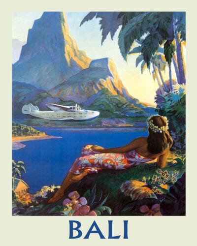 Bali Indonesian island Airplane Ocean Sea Travel Vintage Poster Repro FREE S//H