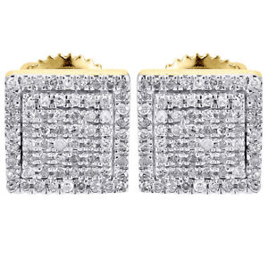 Diamond-Earrings-Mens-10K-Yellow-Gold-Round-Cut-Square-Studs-Fully-Iced-0-25-Ct