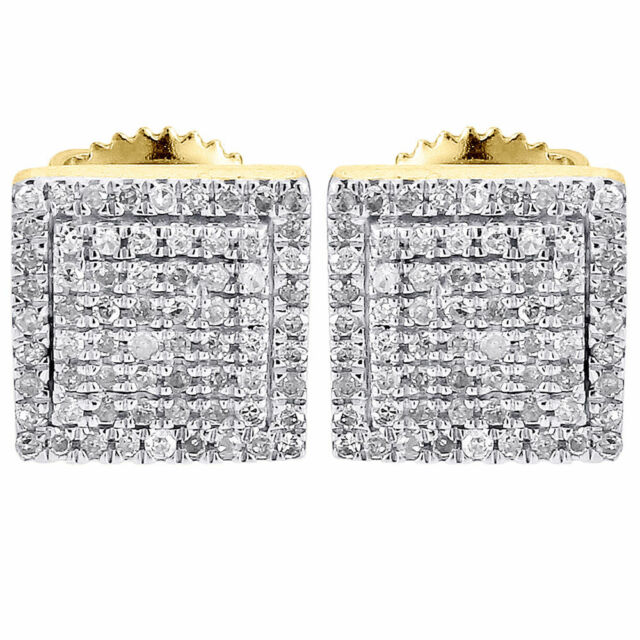 Diamond Earrings Mens 10k Yellow Gold Round Cut Square Studs Fully Iced 0 25 Ct